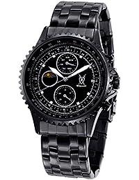 Konigswerk Hombres Negro Acero Inoxidable Reloj Pulsera Multifunción Cristal Marcadores SQ201438G