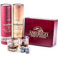 Amerigo Deluxe Whisky Piedras Set de Regalo y 2 Vasos de Whisky - Sea Diferente a la Hora de Elegir un Regalo - Reutilizables Cubitos de Hielo - 8 Whisky Rocks de Granito Whiskey Stones Gift Set