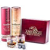 Deluxe Whisky Steine Geschenkset - Sei anders bei der Geschenkauswahl - Luxus Handgemachte Holzkiste mit 2 Whiskey Gläsern - 8 Granit Kühlsteine + GRATIS Eiszange + Samtbeutel - Whisky Stones Gift Set