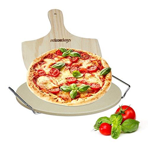 Relaxdays Pizzastein Set 1 cm Stärke mit Metallhalter und Pizzaschieber aus Holz HBT 4 x 32 x 32 cm runder Brotbackstein für Pizza und Flammkuchen mit Pizzaschaufel für Pizzaofen, - Halter Holz Brot