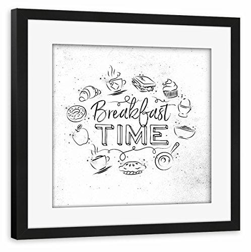 - artboxONE Poster mit Rahmen Schwarz 40x40 cm Monogram Breakfast Time von Anna Kozlenko - gerahmtes Poster