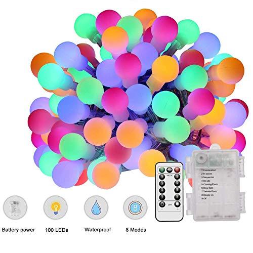 Lichterketten mit Fernbedienung 100 LEDs Multi Colored Globe Lichterketten Batteriebetrieben 10M 8 Modi Wasserdichte dekorative Lichter für Indoor Outdoor Party Hausgarten Patio Bar Restaurant -
