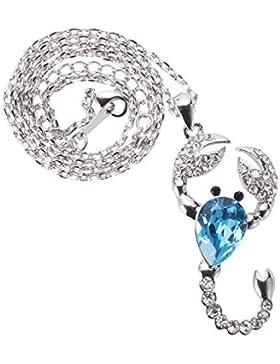 TAOTAOHAS Damen Anhänger Halskette mit Kristall Aquamarine 18K 750 Weißgold, Geist des Skorpions