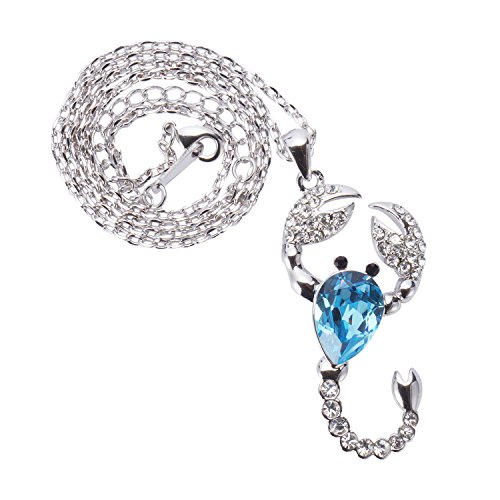 Damen Kette Blau Skorpion Anhänger Halsketten mit Swarovski Kristall Länge 40+5CM von Changeable