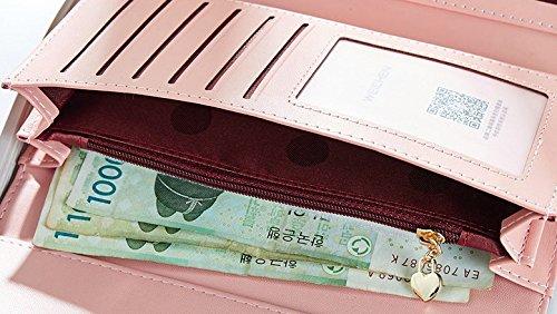 Cozywind Donna Carina Arco Lungo Portafoglio Trifold Pelle Borsa Portafoglio Pulsante Titolare Della Carta (Blu scuro) dusty rosa