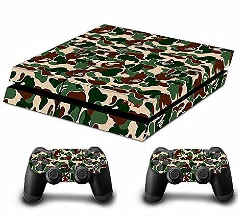 Camouflage Pleins Faceplates Skin Sticker Pour Console PS4 x 1 et le manette x 2 (black)