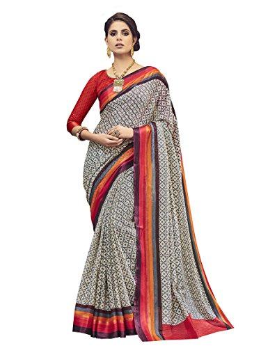 Shangrila Woman's Beige Colour Kota Silk geometric Print Saree