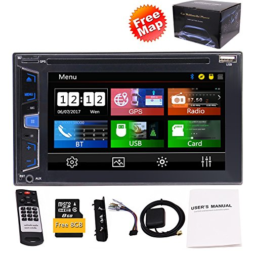 EinCar 15,7 cm 5 punti capacitivo multimediale touch screen doppio DIN auto stereo con GPS integrato, Bluetooth DVD/CD 1080p video playing porte USB/SD FM/AM/RDS radio Swc subwoofer