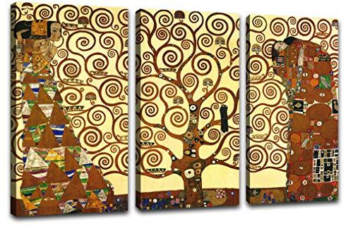 Canvashop Quadri Moderni Soggiorno XXL Albero della Vita 3 Pezzi 113x70 Quadro Klimt Camera da Letto Cucina