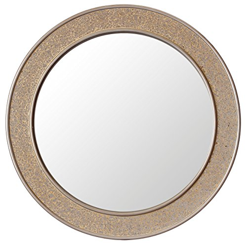 Round Mosaic Champagne Gold Wall Mirror - Large - 60 cm diameter - Bathroom Lounge Hallway