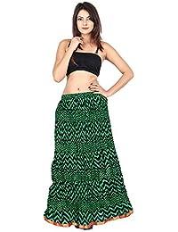 Gaurangi Women's Designer Green Zig Zag Printed Long Skirt