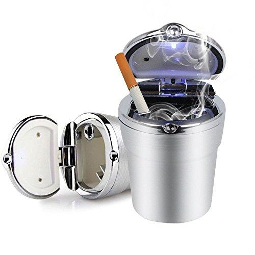 Preisvergleich Produktbild KFZ Aschenbecher mit Deckel Notebook Auto Fahrzeug Aschenbecher mit LED Licht ohne Rauch Haus Büro grau