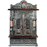 Brilliant Home Designs Aluminium and Copper Oxidized Home Temple, 12x7 Inches (Silver, BHDMN002)