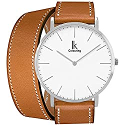 Alienwork IK Wrap2 Quartz Watch elegant Wristwatch stylish Double Wrap Leather white brown 98469CL-03