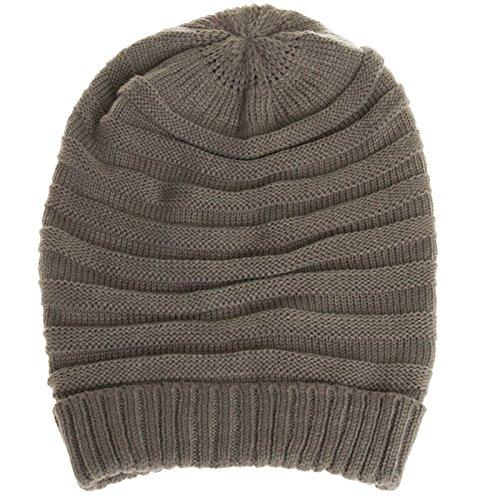 CASPAR - Bonnet hiver pour femme - Beanie en tricot côtelé - plusieurs coloris - MU081 Gris
