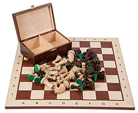 Pro Wooden Chess Set No. 6 - SQUARE Mahogany BL - Chessboard & Chess Pieces Staunton 6
