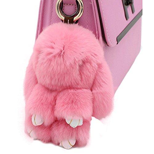 80Store Neuester Weihnachtsgeschenk Faux Pelz Nette Mini Kaninchen Puppe Keychain Auto Schlüsselring Frauen Beutel Charme Handtaschen Anhänger 13CM Pink