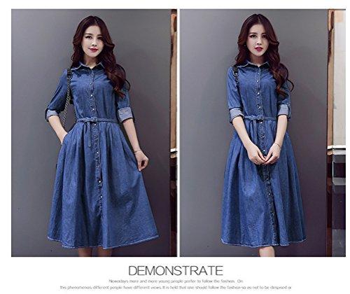 Femmes élégant Lapel à manches longues Lacing Bouton taille Slim Long Denim Dress bleu foncé
