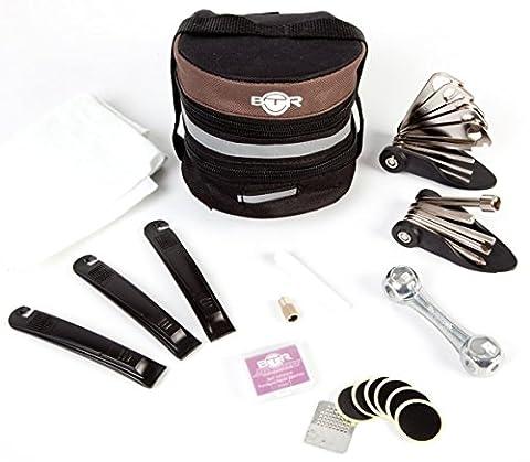 BTR Large Pannier Expandable Bicycle Bag / Saddle Bike Bag with Puncture Kit, Self Adhesive Puncture Patches x 6 & Extensive Bike Repair Kit, Tyre Repair Kit and Bike Tools
