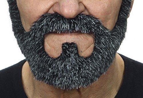 Mustaches Selbstklebende Neuheit On Bail Fälscher Bart Falsch Gesichtsbehaarung Kostümzubehör für Erwachsene Salz und Pfeffer Farbe