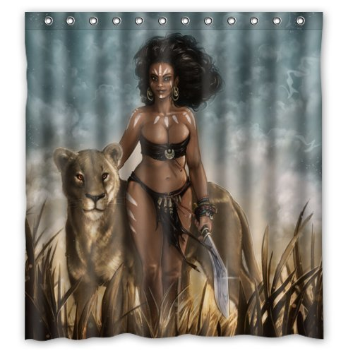 guolinadeou Low Cost Sexy Afro American Woman with Wild Leopard Standard Waterproof Polyester Shower Curtain with Unique Design 60x72 IN Bronze Mens Tie