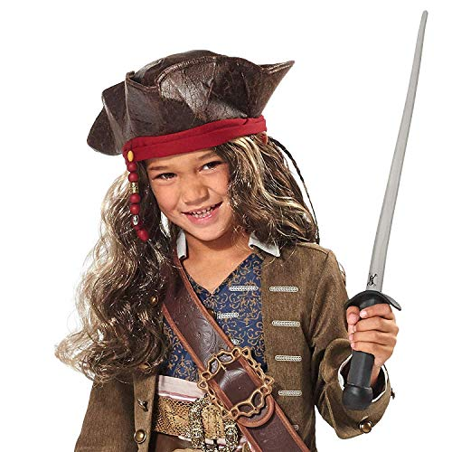 Disney Jack Sparrow Pirate Hat and Wig for Kids - Pirates of The Caribbean: Dead Men Tell No Tales Multi (Sparrow Jack Hats)