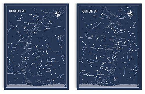 Follygraph Little and Big Astronomer Set - Karten des Himmels, Sternbilder, Poster Set (30x40 cm)