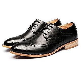 Jingkeke Herren Formale Business Wingtip Brogue Oxfords Matte Echtes Leder Schnürschuh gefüttert Kleid Schuhe auffällig (Color : Schwarz, Größe : 41 EU)