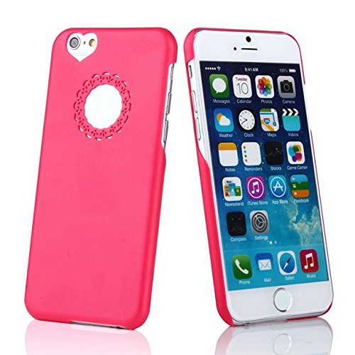 iPhone 6 6S Coeur Coque de NICA, Ultra-Fine Housse Rigide Protection Cover Slim Premium Etui Résistante Hardcase, Mince Telephone Portable Case Bumper pour Apple iPhone 6S 6 Smartphone - Rose Pink Rose