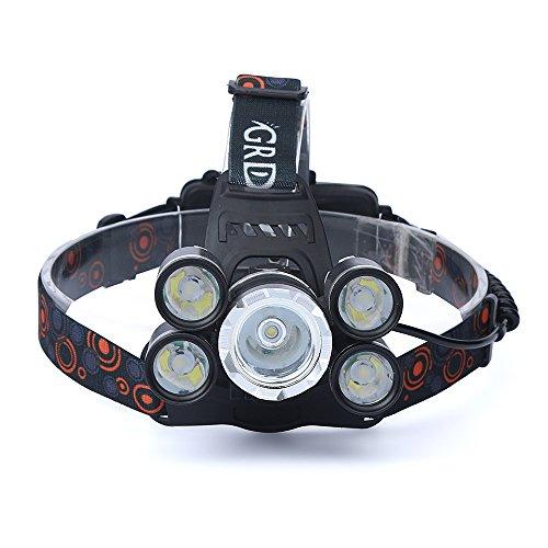 99native Wasserdichte 35000 Lumen T6 LED Wieder Aufladbare Scheinwerfer Reise Kopf-Fackel,Geeignet zum Wandern/Camping/Angeln (Schwarz) - Wieder Motorrad Aufladbare