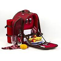 apollowalker 2persona rojo mochila de picnic obstaculizar con bolsa térmica incluye vajilla y manta de forro polar, rosso