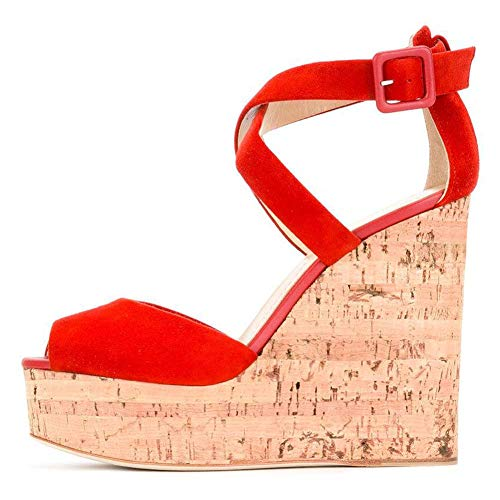 XLY Stilvolle Faux Suede Knöchel Riemchen Criss Cross Open Toe High Heel Wedges Sandalen für Damen,45 Criss Cross Wedge