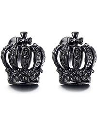 Negro Corona Unisex Pendientes de Hombres de Mujer, Acero Inoxidable, 2 Piezas