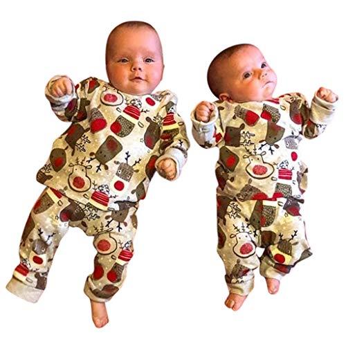 Neugeborenes Baby Mädchen Jungen Weihnachten Kostüm Cartoon Hirsch 4 Stück Outfits Zwillinge Brüder Schwestern Zwei Personen Christmas Babybekleidung Tier Druck Langarm Baumwolle Tops Hose (Baby Bruder Und Schwester Kostüm)