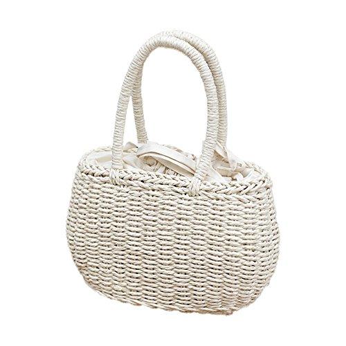 TREESTAR Einkaufstasche für Teller Neu Sommer Europa und Das Paket Gras Wind aus USA Gira Strandtasche Tasche aus Weide 18 * 16 * 10CM weiß Wind Paket