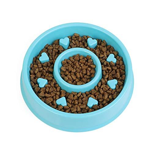 Fghomeaqwsq distributore di alimenti ciotola per animali domestici slow food ciotola antiacaro gatto e cane puzzle feed bowl@20.5 * 4.7cm_blue- a forma di cuore