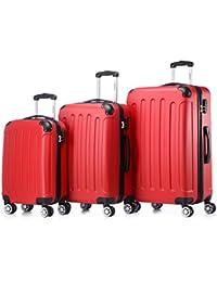 BEIBYE 3 tlg.Kofferset 2045 Reisekofferset Koffer Trolley Hartschale in 12 Farben (Rot)