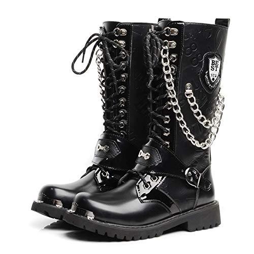 ritische Mode Wasserdichte Hohe Stiefel Aus Echtem Handgemachtem Leder Metallkette Steampunk Schuhe Vier Jahreszeiten Cowboy Military Stiefel,43 ()