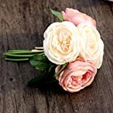 HCFKJ KüNstliche Rose Seidenblumen 5 BlüTe Blatt Garten Decor Diy Rosa