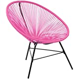 Bentley Garden Furniture Retro Rattan Lounge Conservatory Single Chairs - Pink