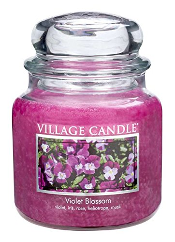 Village Candle Veilchen Blüte Duftkerze im Glas, 454 g, violett, 10.3 x 10.1 cm