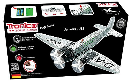 Tronico Metallbaukasten, Flugzeug, Junkers JU 52, 908 Teile, 1:50, batteriebetrieben, Propeller drehen sich, 4-farbig bebilderte Aufbauanleitung, inklusive Werkzeug, Profi Serie, ab 12 Jahren, - Maßstab 1 4 Rc-flugzeuge