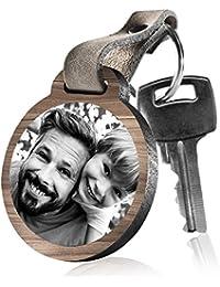 """schenkYOU Schlüsselanhänger aus Holz """"Für den besten Papa der Welt"""" mit rückseitiger Fotogravur"""