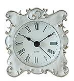 NIKKY HOME Pewter Jolie Petite et mignonne Horloge de table de chevet avec strass cristal de quartz analogique 3'' bureau et étagère pour Salon Salle de bain Décoration, émail blanc