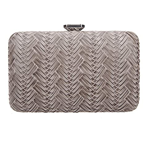 Bonjanvye Big Man Made Diamond PU Leather Weave Evening Bags And Clutches For Women Gray