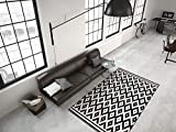One Couture Teppich FLACHFLOR Arabesque SCANDIC Design MODERN TEPPICHE SCHWARZ WEIß, Größe:120cm x 170cm