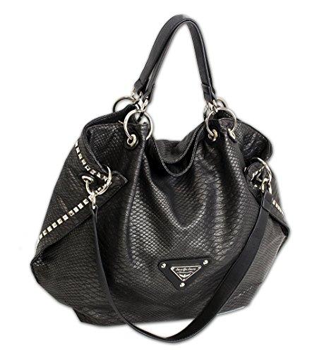 Print Hobo Bag Handtasche (Jennifer Jones Taschen Damen Damentasche Handtasche Schultertasche Umhängetasche Tasche groß XL Hobo Bag schwarz (3445))