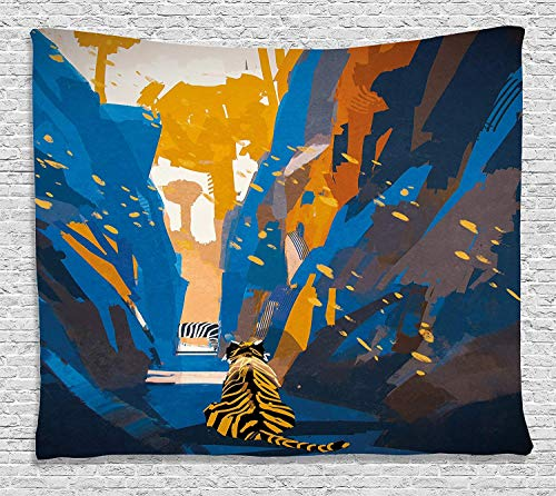 VTXWL Fantasy Art House Decor Tapestry, African Tiger in City Streets Narrow Walls Digital Jungle Savannah, Wall Hanging for Bedroom Living Room Dorm, 80 W X 60 L Inches, Orange Blue