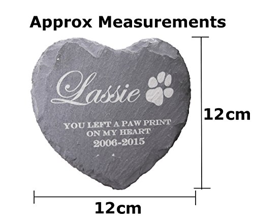 Memorial Plaque Personalised Engraved Natural Slate Heart Shape Pet Grave Marker 3