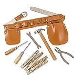 Dress Up America Rollenspiel Carpentry Tool Gürtel Set 7 Stück Zimmerei Werkzeug für Alter 8+